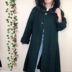 VTG John Weitz Rabbit Fur Wool Trench Swing Coat